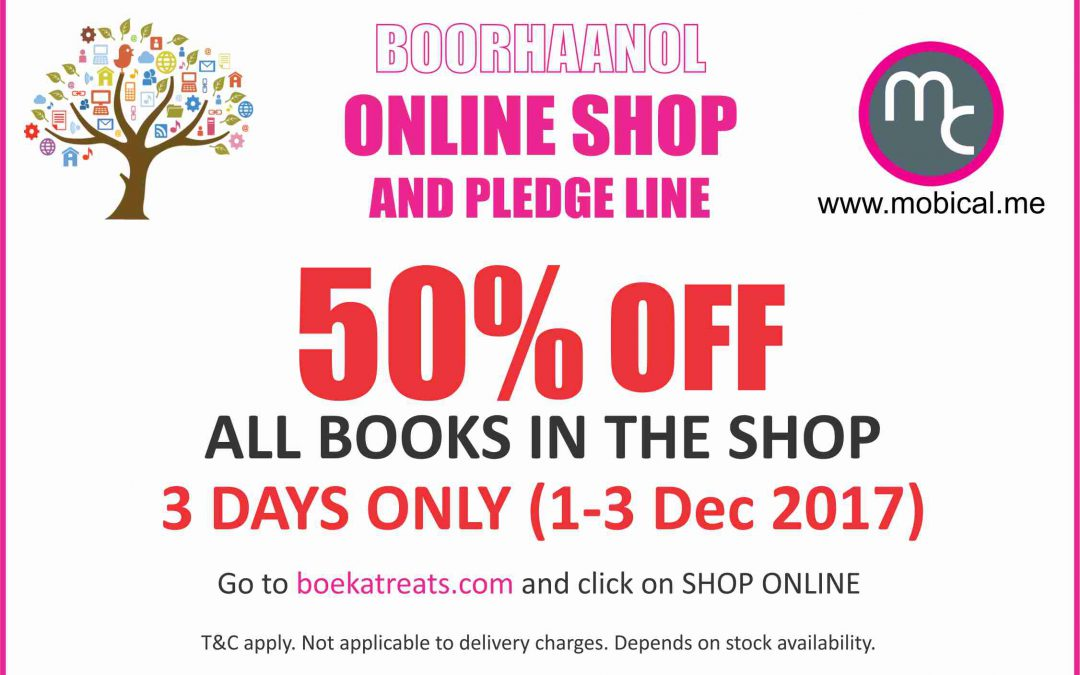 Boorhaanol- 50% off all books in the shop